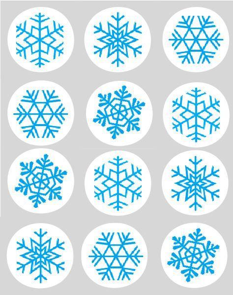 Edible Sugar Snowflakes Snowflake Blue Cupcake Toppers