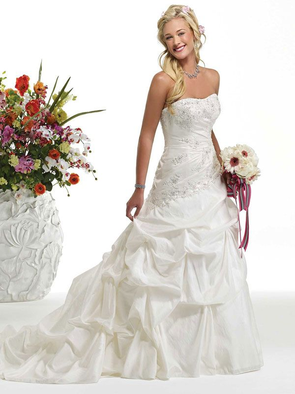 A-line taffeta sleeveless bridal gown