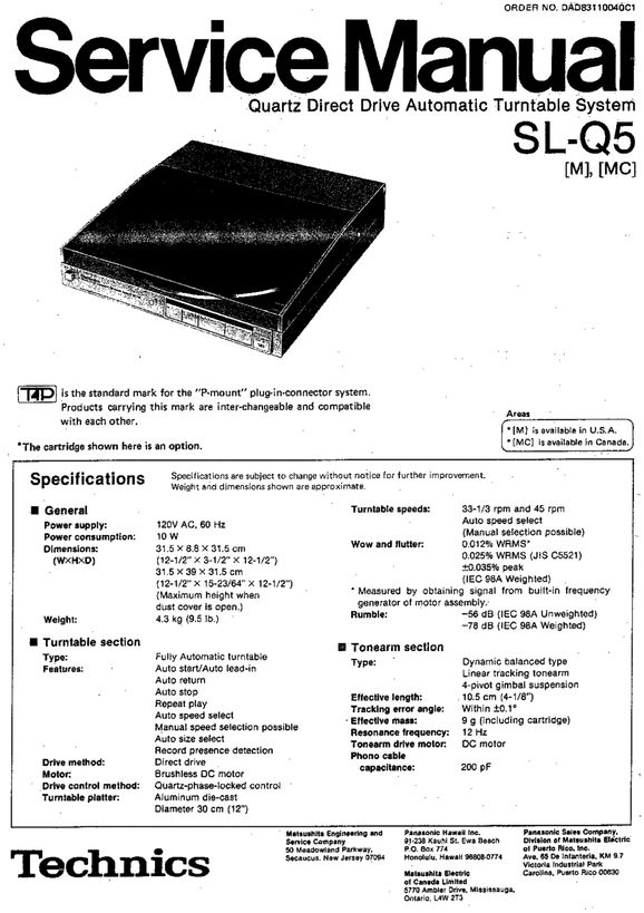 Technics SL-Q5 Turntable , Service Manual * PDF format