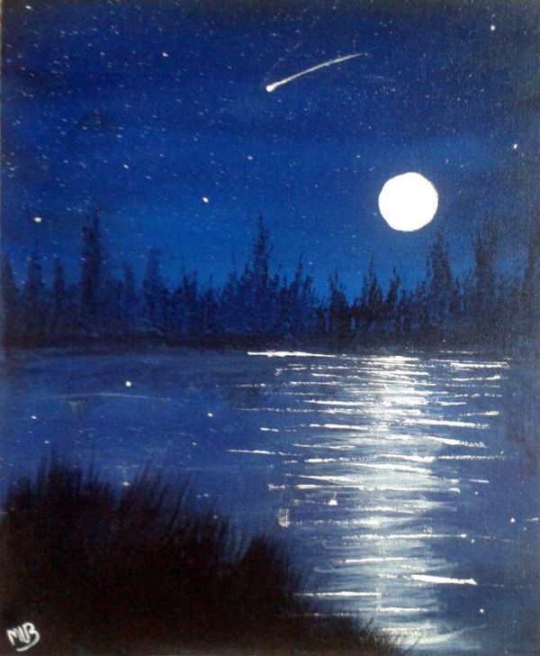 25+ Night Sea Landscape Acrylic Pictures and Ideas on Pro