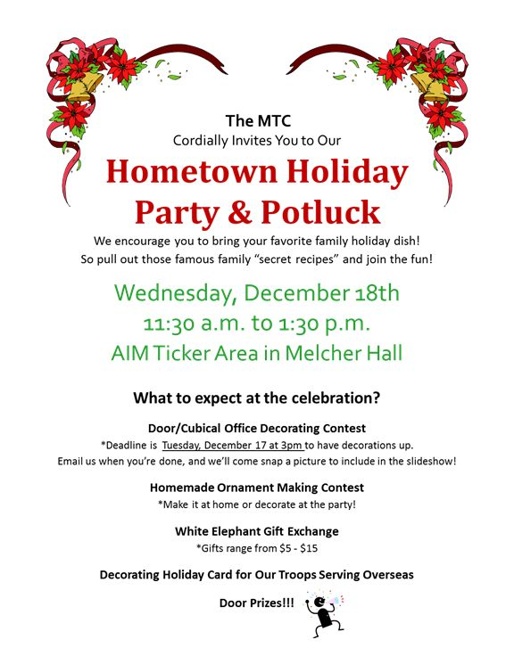 Office Potluck Invitation Hometown Holiday Party