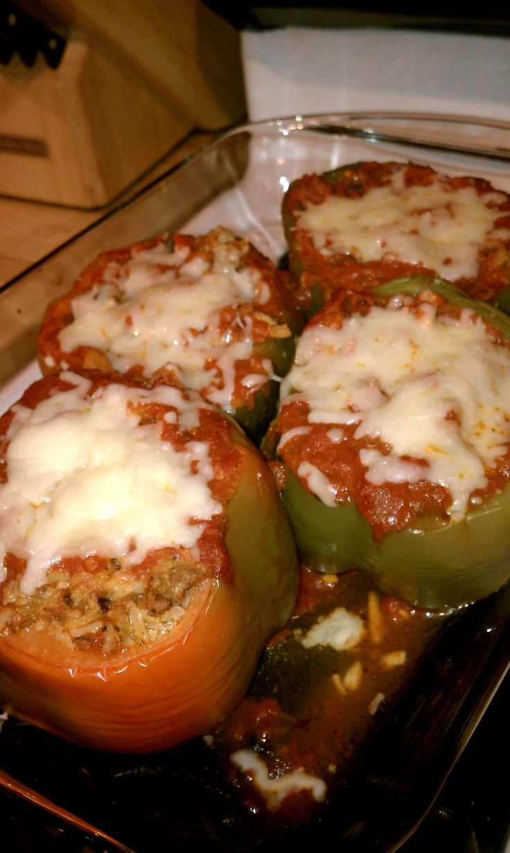 Stuffed Peppers My favorite childhood fish! Scooped out bell peppers with a meat