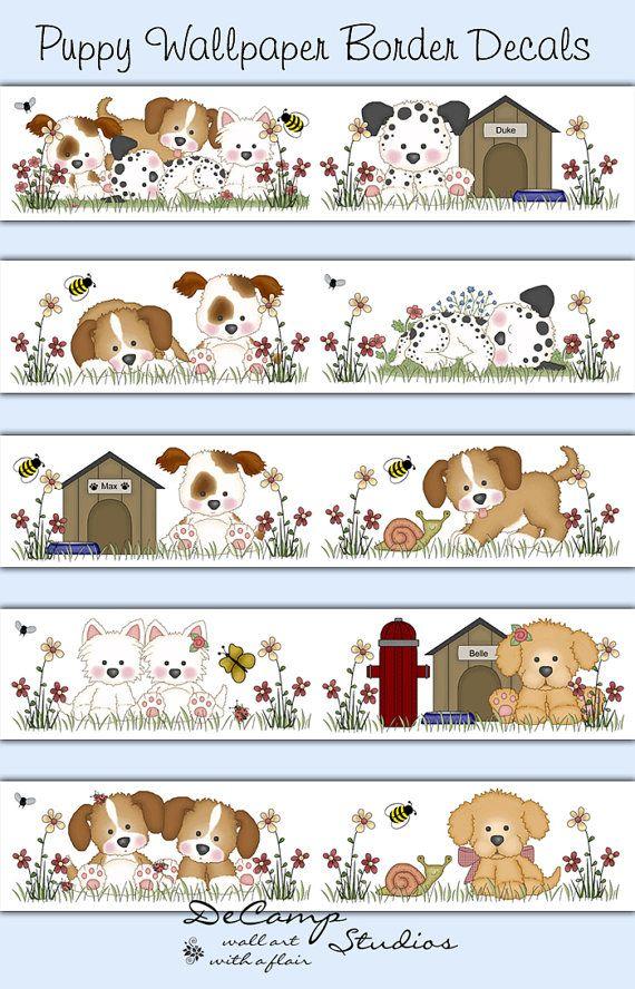 Baby Girl Nursery Wallpaper Borders Puppy Wallpaper Border Decals Wall Art Baby Boy Girl Dog