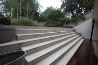 Contemporary Sawn Limestone steps complement this bold ...