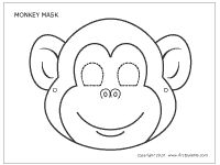 A printable monkey mask to use to make a stick puppet