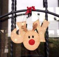 Rudolph JOY Door Hanger | Door hangers, Appliques and Doors
