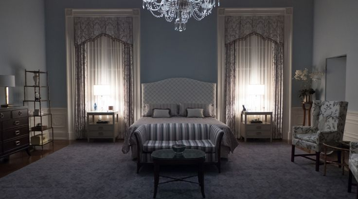 Claire Underwoods bedroom on House of Cards Love the