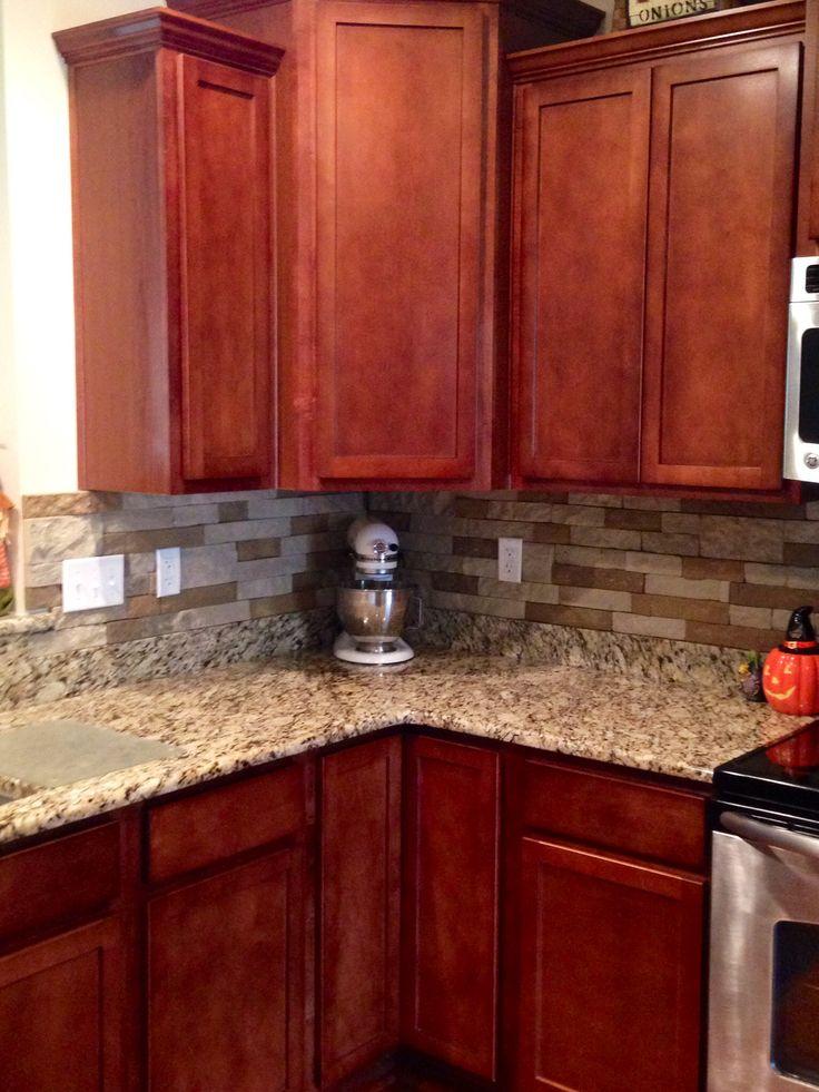 Airstone Backsplash in kitchen Autumn Mountain Maple