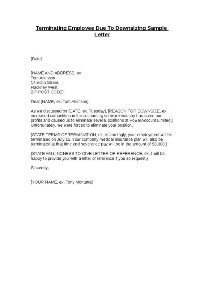 Free sample layoff letter to employee textpoems doc 529684 employee separation letter free termination spiritdancerdesigns Gallery