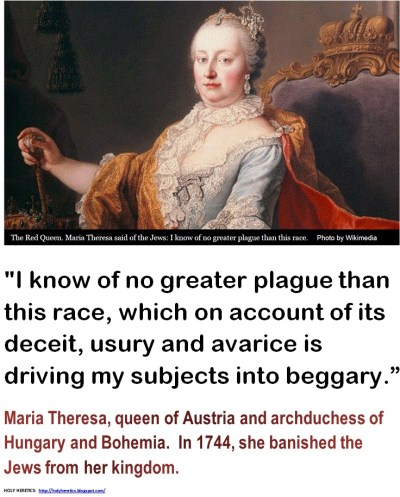 Image result for Maria Theresa on expelling the Jews