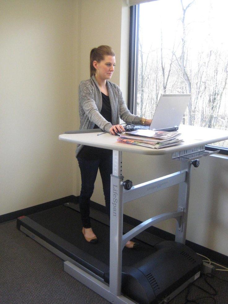 Ann walking while working on her LifeSpan Treadmill Desk