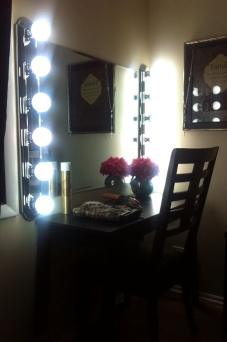 DIY Vanity Bar lights mirror and bulbs from home depot