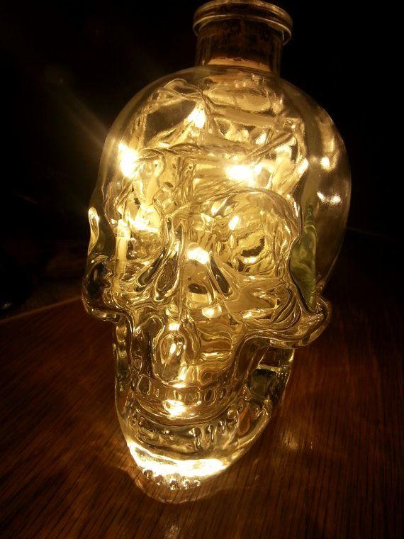 Upcycled Crystal Head Vodka Glass Skull Lamp Light warm