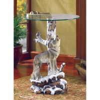 Wolf Novelty Accent Table with Glass Tabletop $99.95 free ...