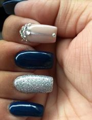 navy blue silver and nude acrylic