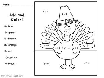 Color By Number Multiplication Worksheets Thanksgiving