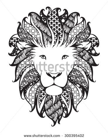 Ornamental patterned head of the lion. Zentangle doodle