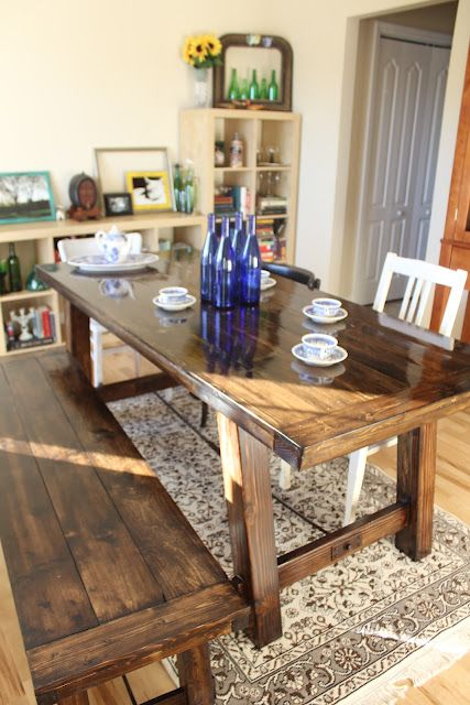 DIY Farmhouse Table… sounds really intense but maybe we could borrow tools and