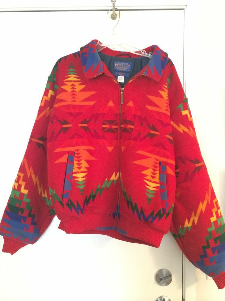 Vintage Pendleton High Grade Wool Jacket Coat Red Navajo