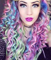 beautiful rainbow pastel hair color