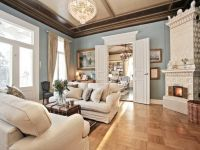 Contemporary Living Room with Armstrong Honey Oak Parquet ...
