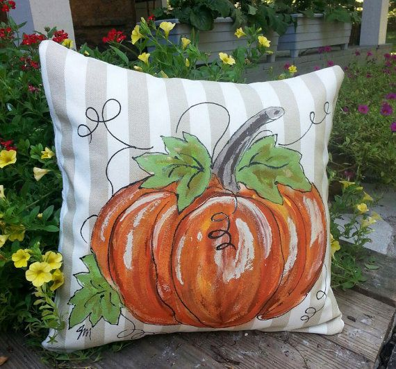 Pillow Cover Handpainted Pumpkin Tan and Cream Linen