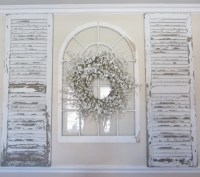 Shutters and a wreath on a window | decorating | Pinterest ...