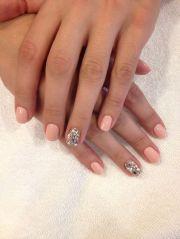 gel nail peach and sparkle cute