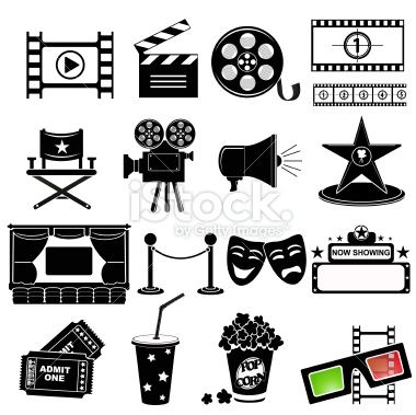 Movie and cinema icon set Royalty Free Stock Vector Art