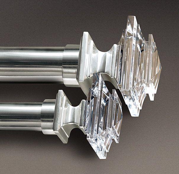 Estate Crystal Square Finials Silver Set Of 2 Restoration Hardware 65 Large 1 Diam Rod