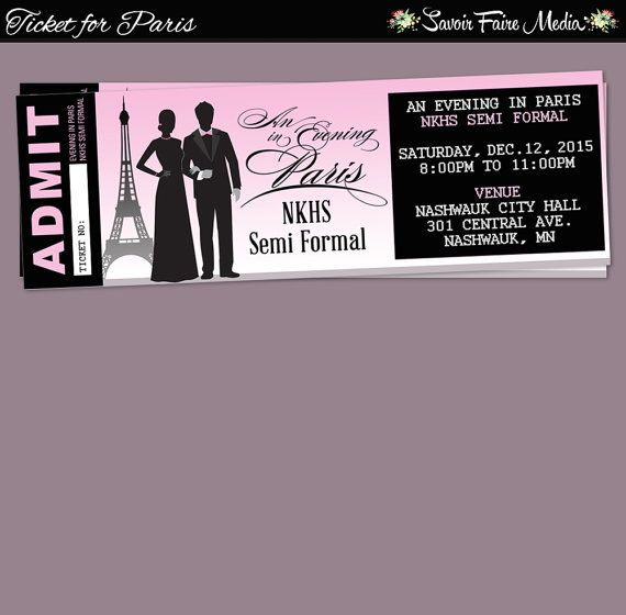 Paris Themed Event Ticket  Customizable Prom Dance