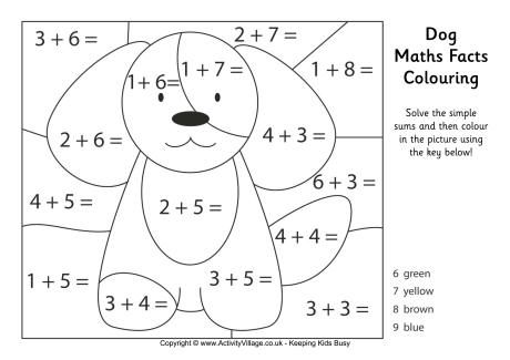 Dog maths facts colouring page free printable