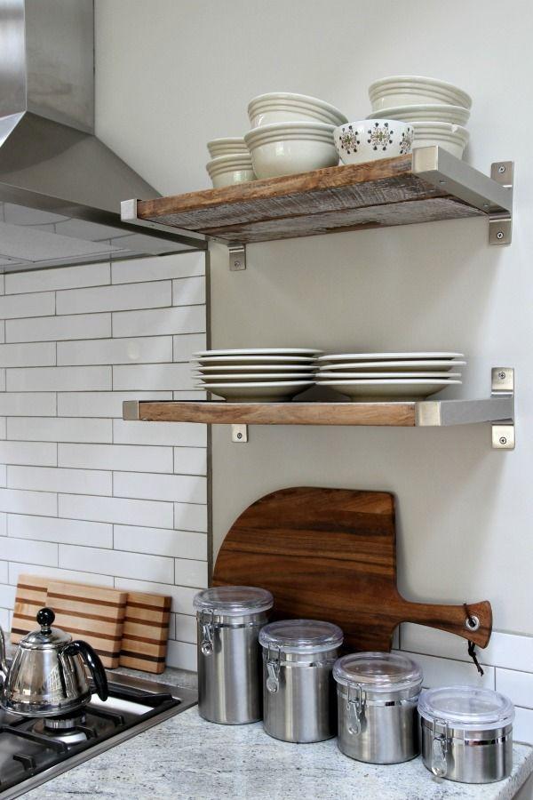 reclaimed wood fitted in Ikea brackets  kitchen