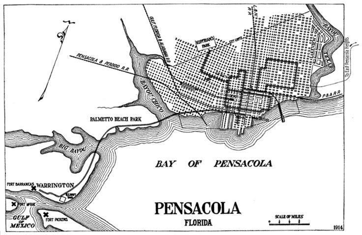 Street Car Map , Pensacola The street cars ran until 1932