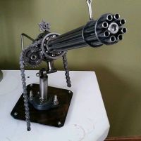 Awesome Scrap Metalart mini gun sculpture with movable ...