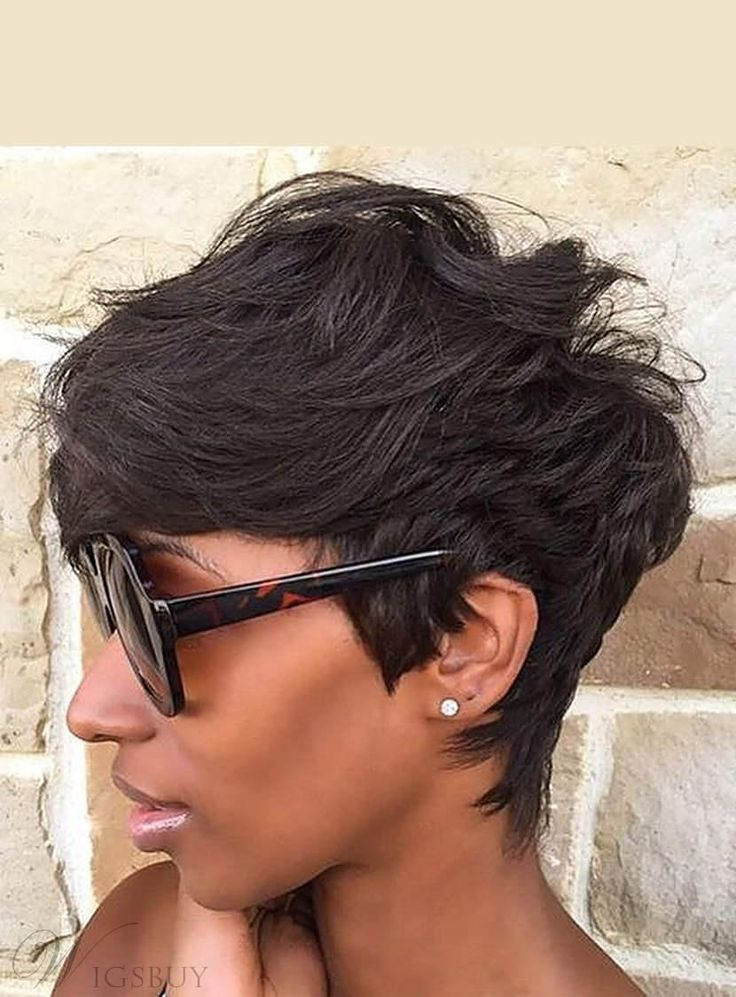 Natural Cut Pixie Messy Layered Wave Short Human Hair With Bangs Capless Cap Wigs 6 Inches