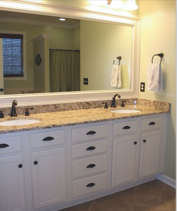 Bathroomwhite cabinets framed mirror  Bathroom remodel