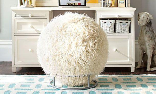 wow a white fuzzy bouncy ball for a chair kinda fun