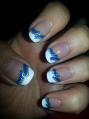 blue and silver french tip nail