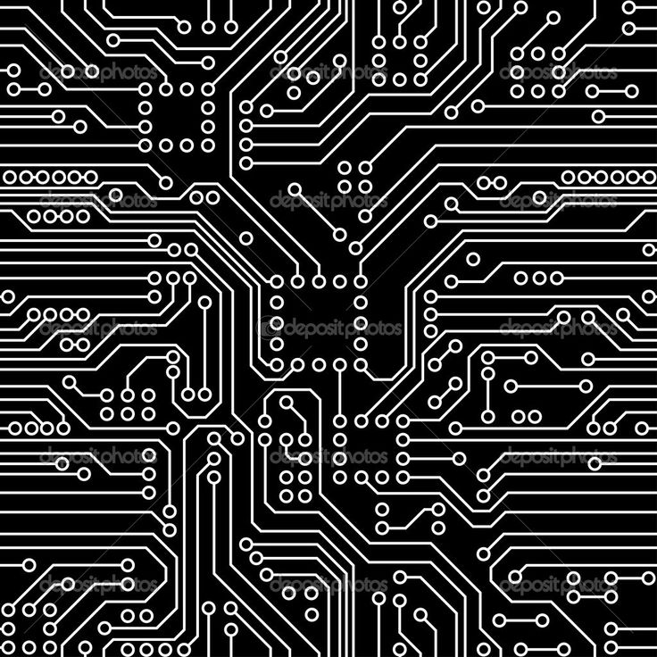 Robot Circuit Board Large Black And White Fabric Robyriker