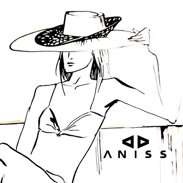Thinking of the beach # hat #sunhat #millinery #drawing