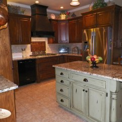 Distressed Kitchen Cabinets Island Table For Green Island, Copper Backsplash, Stone ...