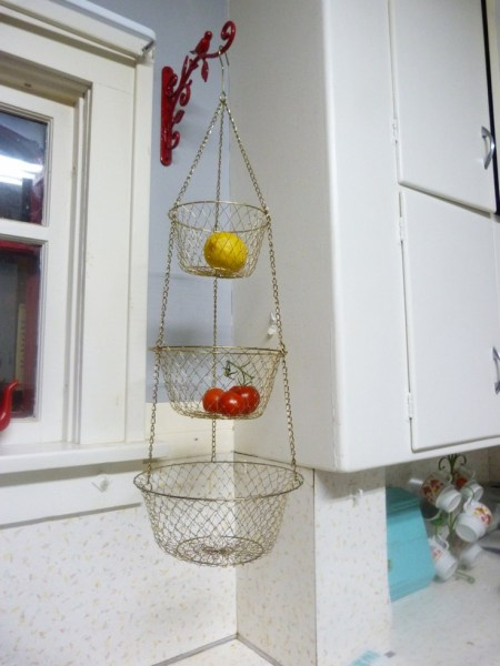 hanging kitchen basket RESERVED thank you :) Vintage 3 Tier Wire Hanging Kitchen Basket Brass Color, Kitchen Hanging