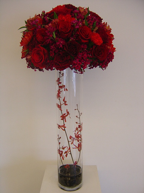 tall red and burgundy centerpiece  Tiffany Blue and Red72013  Pinterest  Photos