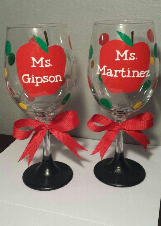 Teacher Wine Glass With Chalkboard Bottoms! By B L B