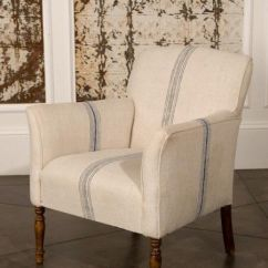 Dining Room Chair Slipcovers With Arms Memory Foam Folding Bed Blue Stripe Grain Sack Occasional | Furnish Me Pinterest The Old, Sacks And Classic Chairs