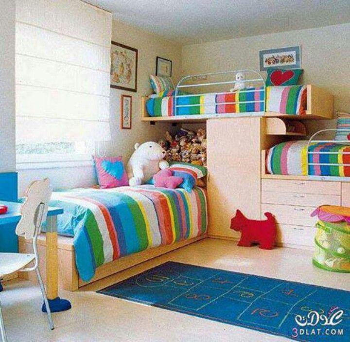 Three beds in one bedroom kids room  bedroom ideas