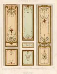 Antique Print Decoration Door Panel Ornament Louis XV