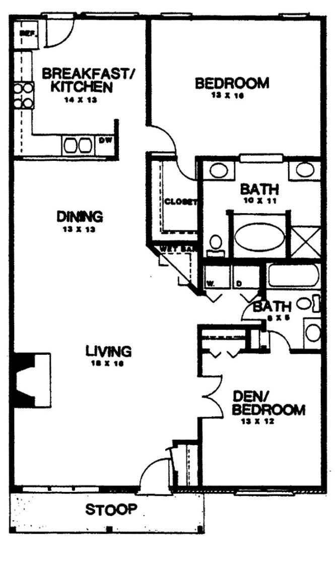 Two Bedroom House Plans Home Homepw03155 1 350 Square Feet 2