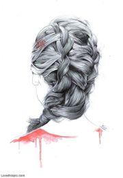 sketch of hair braids girl